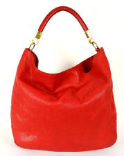 YVES SAINT LAURENT $1,895 Tomato Red Chevre Leather ROADY Hobo Bag