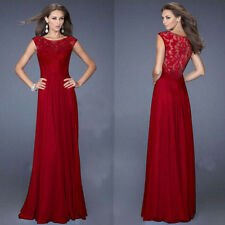 Women Formal Cocktail Party Ball Gown Evening Bridesmaid Long Lace Chiffon Dress