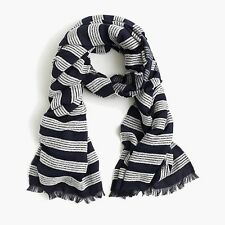 J. Crew  - NWT - Navy Blue & White Embroidered Striped Scarf