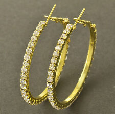 """Nice New 9k Yellow Gold Filled Clear Crystal CZ Large 1.7"""" Round Hoop Earrings"""