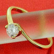 AN620 GENUINE  REAL 18CT YELLOW G/F GOLD SOLID DIAMOND SIMULATED SOLITAIRE RING