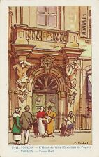 CARTE POSTALE ILLUSTRATEUR VIDAL FANTAISIE TOULON L'HOTEL DE VILLE