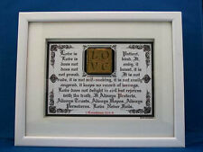"Bible Scripture Plaque""LOVE NEVER FAILS""Framed,Christian Wedding Gifts,Wooden"