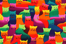 Fat quarter crazycat brite chats 100% coton quilting tissu
