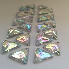 50 pcs x Sew On 14 mm Acrylic Rhinestones Clear AB Color Triangle Shape