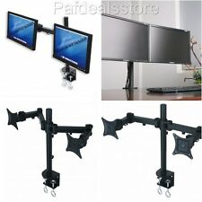 Dual Monitor Stand Clamp LCD Desk Mount Adjustable 2 Screens Wide Arm Up To 27""