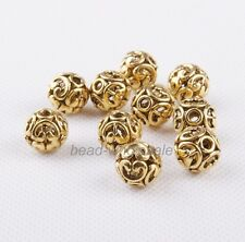 10Pcs Silver/Gold/Bronze Tibetan silver Round Hollow New Spacer Beads Findings