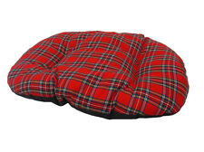 LARGE RED TARTAN Cotton Dog Cat Bed Cushion For Bottom Of Basket UK Made