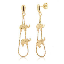 Stunning Yellow Gold Plated Two Mini Elephants Drop Dangle Stud Earrings 2 Inch