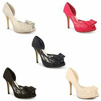 New Ladies Stylish Peep Toe Lace Bows High Stiletto Heels Shoes Sizes UK 3-8