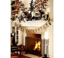 """POTTERY BARN EERIE """"HAPPY HALLOWEEN"""" JUTE BANNER """"NEW IN PACKAGE"""" ~ SOLD OUT!!!"""