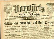 VORWÄRTS (19. Januar 1918): Oesterreich Zuversicht auf Brest=Litowsk