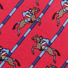 100% REAL HERMES TIE ~ CHERRY RED w LIGHT BLUE EQUESTIRAN HORSE JUMPERS HURDLES