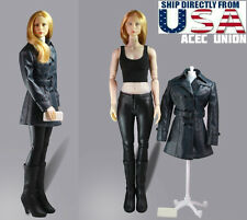 "1/6 Women Leather Trench Coat Set D For 12"" Phicen Hot Toys Female U.S.A. SELLER"