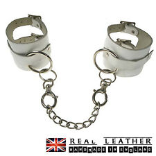 White Handcuff Keyring Chain Studded 100% Real Leather Handmade In England
