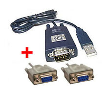 USB to RS232 Serial Null Modem Cable COM DB 9 Pin Lead + 2 M Extension