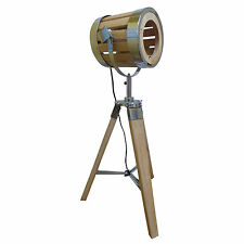Vintage Tripod Floor/Table Lamp light Wood Spotlight telescopic searchlight