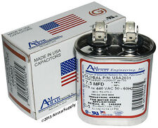 7.5 uF MFD x 370 or 440 VAC Oval Run Capacitor USA2031 - Made in the USA