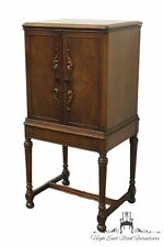 1920's Antique Burl Walnut Jacobean / Gothic Revival Style Music Cabinet