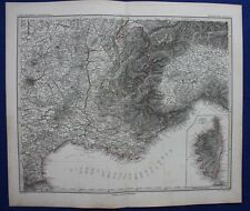 Sud-est de la france, marseille, toulon, corse original antique map, steiler 1880