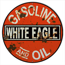 Reproduction White Eagle Gas And Oil Sign 24 Round