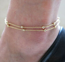 New Simple Elegant Gold Double Chain Bead Anklet Bracelet Barefoot Beach Jewelry