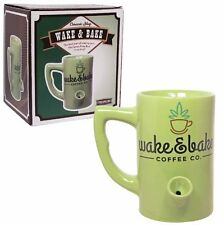 1X Green Ceramic Porcelain Wake And Bake Coffee Water Novelty Pipe Mug