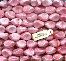 Vintage Pink Beads 14mm Rose & White Opaque Glass Unusual Shape