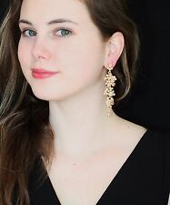 Kate Spade leverback champagne golden drop dangle earrings & chandelier cluster