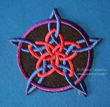 ROSE PENTAGRAM IRON ON CLOTHING PATCH 6cm Wicca Pagan Witch Goth