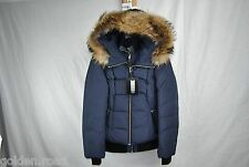 MACKAGE ROMANE DOWN COAT WOMENS BOMBER F5 INK L LARGE FUR HOOD NEW AUTHENTIC
