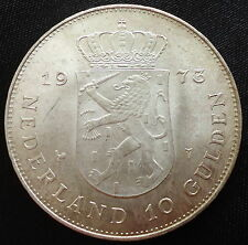 1973 Netherlands 10 Gulden Commemorative Silver Coin Queen Juliana