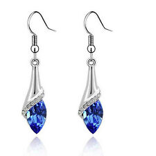 Jewelry 18K White Gold Plated Oval Crystal Sapphire Drop Hook Dangle Earrings