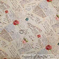 BonEful Fabric FQ Cotton Quilt Cream Rose Pink Rose Letter French Cottage Flower