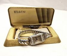 Vtg Elgin 18K White Gold Mechanical Ladies Watch Genuine Diamond 17 Jewel Runs
