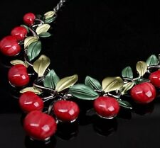 Rockabilly Cherries Cherry Pin Up Necklace And Earrings Set NWT