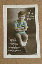 Vintage Postcard: Birthday Greetings, Young Lad, 1923, Rotary