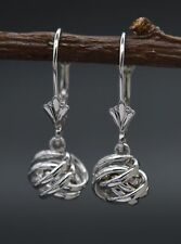 JM35 14K Solid White Gold 22mm Dangle Love knot Leverback Earrings