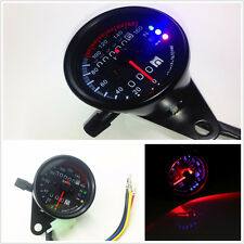 Black Round LED Backlight Motorcycles Motorbikes Dual Odometer Speedometer Gauge