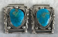 SILVER TURQUOISE AMERICAN INDIAN WATCH TIP CUFFS ENDS VINTAGE MATTHEY SHEFFIELD