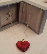 LALIQUE  NECKLACE RED LARGE HEART ROSES  9CT GOLD 18 INCH CHAIN- RARE STUNNING
