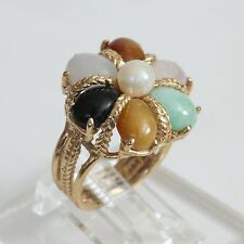 HEAVY VINTAGE SOLID 10K GOLD & MULTI JADE PEARL CLUSTER RING, 8 gms, size 5, EXC