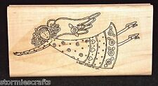 Stampin Up Heavenly Days Stamp Single Girl Angel with Wings Flower Buds on Dress