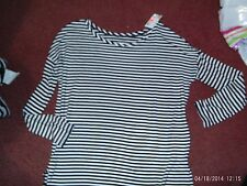 justice --girls size 6 --- black/white striped long sleeve top--- nwt