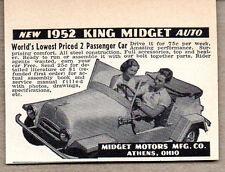 1952 Vintage Ad '52 King Midget 2 Passenger Cars Cincinnati,OHIO
