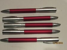 LOT OF 5 TERZETTI TESTA MATTE CHROME/RED METAL BALLPOINT PENS-SLIM PEN
