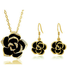Gold & Black Camellia Flower Jewellery Set Drop Earrings & Necklace Pendant S717
