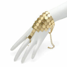 SQUARE PLATE LINK DESIGN INDIAN BOLLYWOOD STYLE BRACELET HAND HARNESS PANJA RING