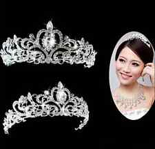 Bridal Princess Stunning Crystal Hair Tiara Wedding Crown Veil Headband silver