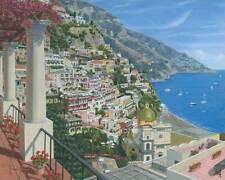 "ORIGINAL RICHARD HARPUM ""Positano Vista, Amalfi Coast, Italy"" Coastal PAINTING"